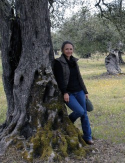 Denise Hyland under an old olive tree